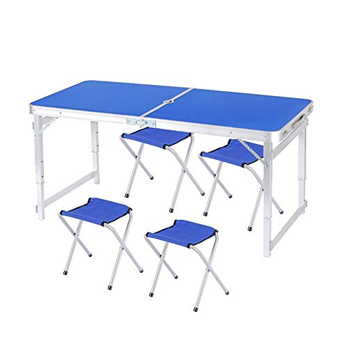 WYJW - Mesa plegable para camping, altura regulable, tubo cuadrado de aluminio, práctica mesa plegable con orificio para sombrilla con asa para barbacoa, picnic, fiestas (azul)