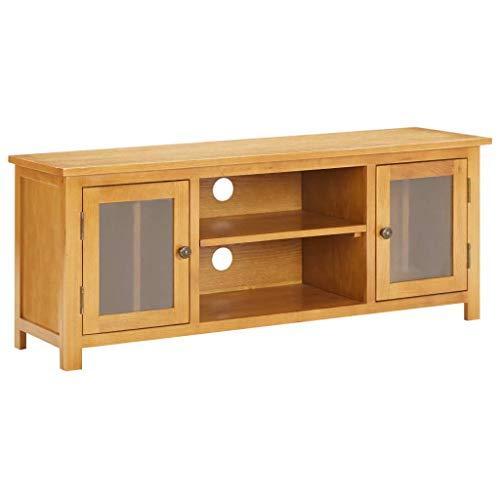 Ausla Mueble para TV de madera maciza de roble con paneles de cristal y 2 puertas, 2 compartimentos, 120 x 35 x 48 cm