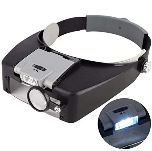 Lupa para la cabeza con 2 luces LED, manos libres, lupa montada en la cabeza con 4 lentes desmontables para leer, reparación electrónica, J