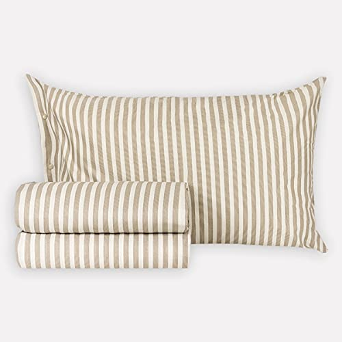 R.P. Completo Lenzuola in Cotone Mille Righe Made in Italy 4 Misure Matrimoniale 2 Piazze Beige