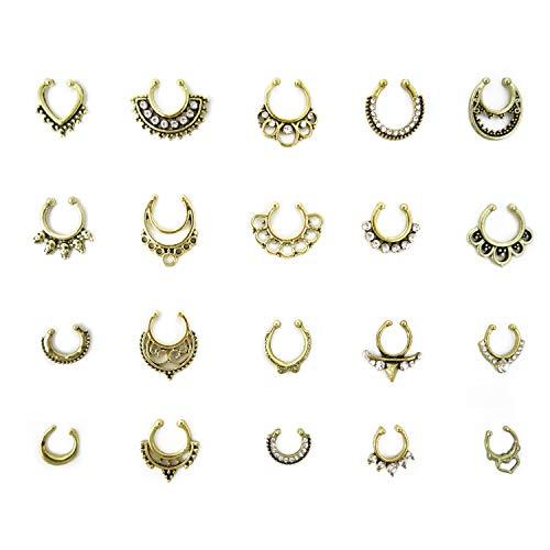 Honbay 20pcs Fake Septum Clicker Nose Ring Rhinestone Non Piercing Hanger Clip Body Jewelry (Bronze)