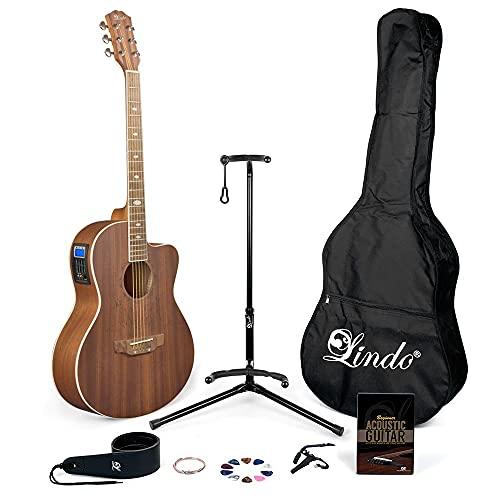 Lindo Feeling Elektro-Akustikgitarre mit LCD Tuner XLR/Tragetasche & komplettes Zubehör-Set (Gigbag, Gitarrenständer, Saiten, Gurt, 10 Plektren, DVD, Capo)