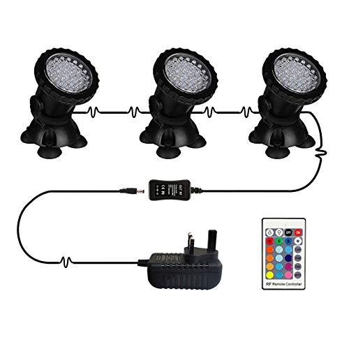 KY-Tech - Set di 3 luci subacquee, impermeabili IP68, per laghetti, acquari, luci a LED, illuminazione da giardino, luci sommergibili multicolore, dimmerabili, con telecomando (spina UK)
