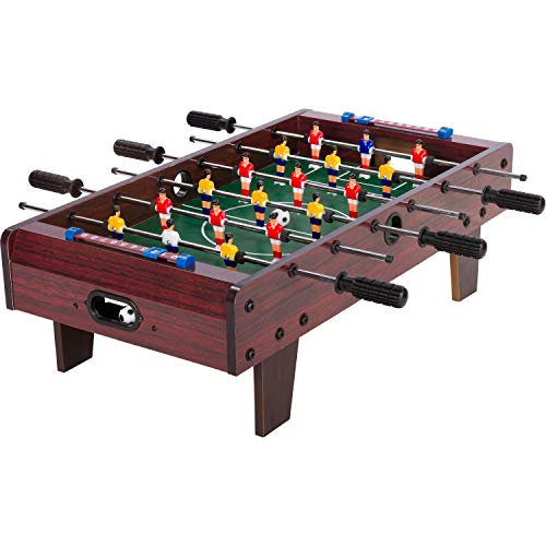"""Maxstore Mini Kicker Tischfußball """"Chelsea"""", Dunkles Holzdekor, Maße: 70x37x25 cm, Gewicht: 4 kg, 6 Spielstangen, Kleiner Kinder Tischkicker inkl. 2 Bälle"""