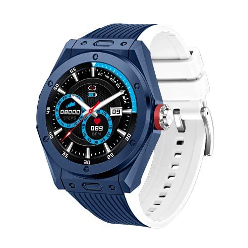 Reloj inteligente para hombre, 1,28 pulgadas, Full Touch, monitor de la presión sanguínea, podómetro, notificaciones de mensajes de llamadas, control de música, reloj Bluetooth para Android iOS