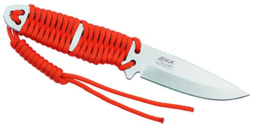 Eka Erwachsene CordBlade W9 Gürtelmesser, Sandvik-Stahl 12C27, orangefarbene Paracordwicklung, Kydexscheide mit Gürtelclip, Mehrfarbig, One Size