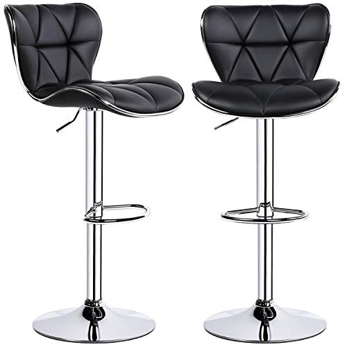 YAHEETECH Bar Stools PU Leather Swivel Bar Chair with Fashionable Shell Back Height Adjustable Swivel Stool Set of 2 - Black