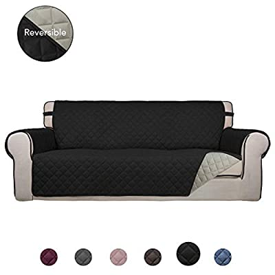 PureFit Reversible Quilted Sofa Cover, Water Resistant Slipcover Furniture Protector, Washable Throw Couch Cover with Non Slip Foam and Elastic Straps for Kids, Dogs, Pets