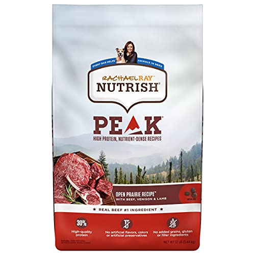 Rachael Ray Nutrish PEAK Natural Dry Dog Food, Open Prairie Recipe with Beef, Venison & Lamb, 12 Pounds, Grain Free (Packaging May Vary)