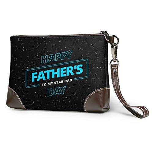 Ahdyr Cartera de cuero suave impermeable para mujer Cartera de mano Feliz día del padre Cartera de cuero con cremallera para mujeres y niñas