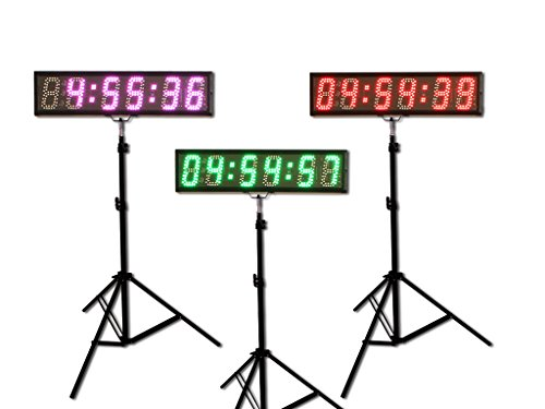 EYOU 5' 6 Digits (7 Colors) LED Countdown Clock Race Timing for Running Events (RGB)
