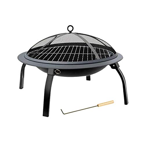 SMQHH Fire Pit,with Clamp and Grilled Net for Backyard Poolside Campfire Grill,Collapsible Legged Iron Brazier Wood Burning Housewares