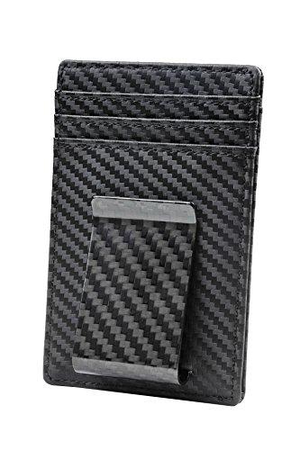 Travelambo Money Clip Front Pocket Wallet Slim Minimalist Wallet RFID Blocking(Weaved Black)