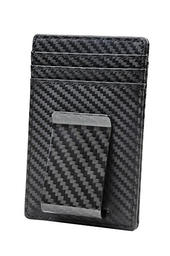 Travelambo Money Clip Front Pocket Wallet Slim Minimalist Wallet RFID Blocking(Weaved Black)
