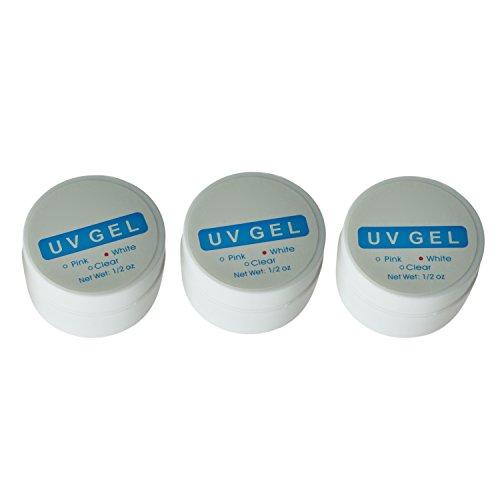 3 Gels UV Formador Uñas, Consejos Pegante para Manicure Rosado, Blanco y Claro