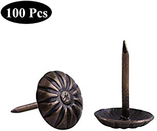 Yosoo 100pcs Antique Bronze Upholstery Nail Wood Decorative Tack Stud for Home Furniture Decor (Size:Type7-green Bronze)
