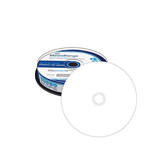 MediaRange Blu-Ray BD-R Dual Layer 50 GB stampabile – 6X – 50 pezzi in Cakebox