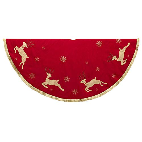 Kurt S. Adler Tree Skirt, Red, Tan