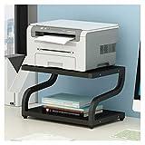 Soporte de Impresora Esmalte de impresora multifunción de escritorio con marco de metal de 2 capas Estante de almacenamiento de escritorio para impresora de oficina Máquina de fax Rack (negro) Rack de