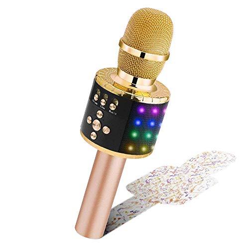 BONAOK Drahtloses Bluetooth-Karaoke-Mikrofon mit steuerbaren LED-Leuchten, Tragbarer Karaoke-Maschinenlautsprecher Geburtstagsgeschenk Party-Reisespielzeug für Android/iPhone/iPad/Sony/PC (Hellgold)