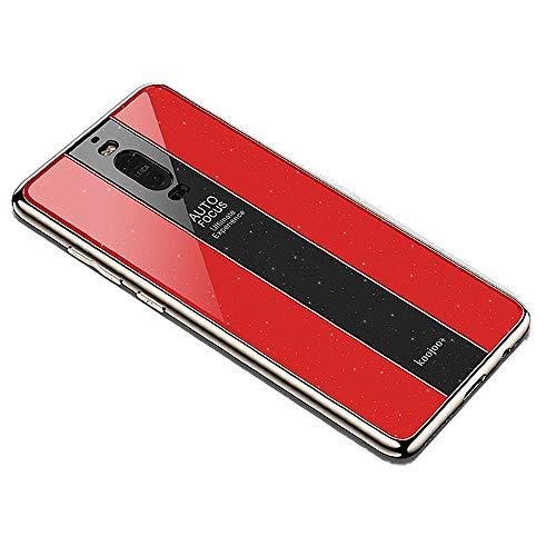 Miagon Überzug Hülle für Huawei Mate 9 Pro,Glänzend Glitzer Überzug Plating Rahmen Ultra Dünn Hart PC Handyhülle Schutzhülle Tasche Weich Case Bumper für Huawei Mate 9 Pro,Rot