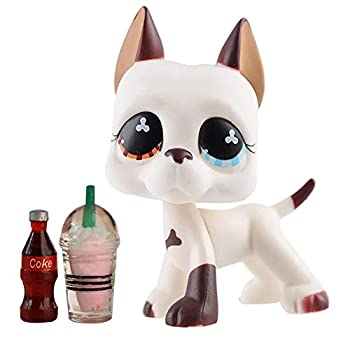 LovePets lps Great Dane 577 lps Great Dane Dog White and Brown Two Different Eyes with lps Accessories Drinks