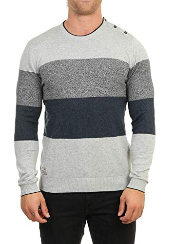 OxbOw M2PRAYE Pull col Rond Homme, Gris Chiné, FR : S (Taille Fabricant : S)