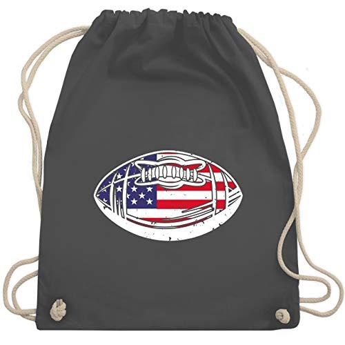 American Football - Football mit amerikanischer Flagge - Unisize - Dunkelgrau - Sport - WM110 - Turnbeutel und Stoffbeutel aus Baumwolle