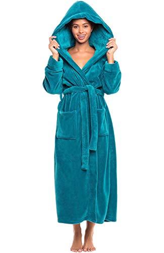 Alexander Del Rossa Women's Plush Fleece Robe with Hood, Warm Bathrobe Large-XL Ocean Depth Green (A0116ODPXL)