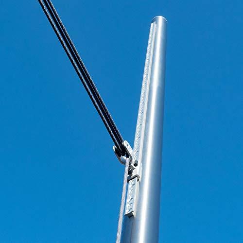 Pina DESIGN seit 1979 - Sonnensegel Pfosten höhenverstellbar 3m, aus V2A Edelstahl inkl. Zubehör - 4-Fach Flaschenzug-Set + 0,75m Bodenhülse zur Befestigung | für sehr große Segel (70/3mm)