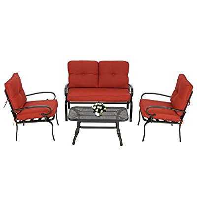 Oakmont Outdoor Furniture Patio Conversation Set Loveseat, 2 Chairs, Coffee Table with Cushion, Lawn Front Porch Garden, Metal Chair Set Wrought Iron Look (Red)
