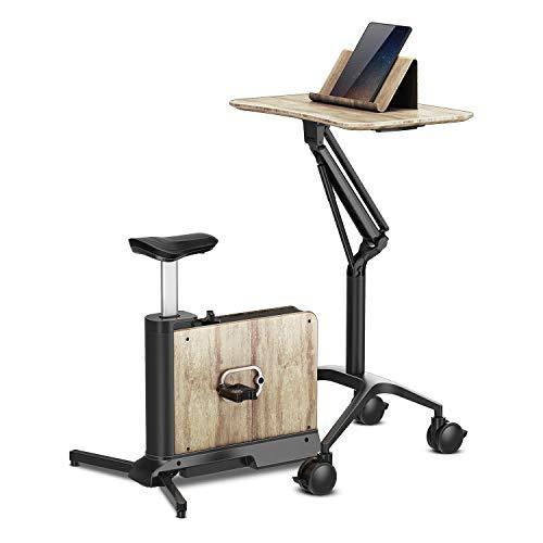 KLAR FIT Klarfit Roomik Bicicleta de Cardio - Bicicleta de Fitness, Abedul, Volante de inercia de 8 kg, Tracción por Correa, 8 resistencias, Altura Regulable, Compacto, hasta 100 kg, Negro-marrón
