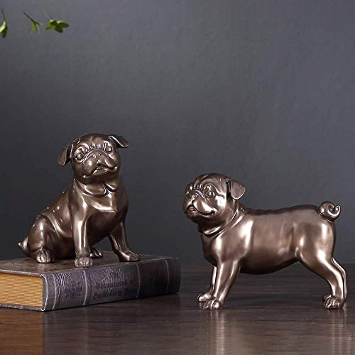 CESULIS Lindo Shar Pei Animal Resina Cachorro Decoración Bulldog Creativo Artesanías Sala Estudio Dormitorio Estante de Vino Decoración Delicado Hermoso Vino