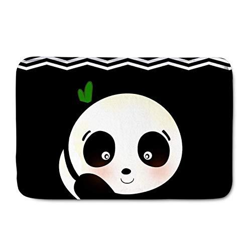 Felpudo de franela con impresión 3D para puerta de entrada, diseño de panda, color negro, muy antideslizante, 60 x 90 cm