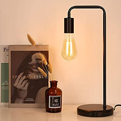 Industrial Table Lamp, Edison Desk Lamp, Small Lamps for Bedroom, Office, Dorm, Marble Base Bedside Nightstand lamp, Black(Bulb No Included)