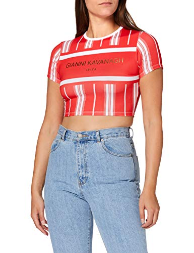 Gianni Kavanagh Red Ibiza Cropped tee Camiseta, Rojo, L Mujer