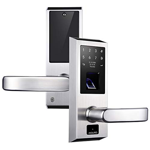 AIGURD Fingerprint Door Lock, Stainless Steel Keyless Entry Door Lock, Biometric Door Lock, Keyless Door Lock, Keypad Door Lock, Digital Smart Door Lock, Keypad Entry Door Lock(Right-Handle)