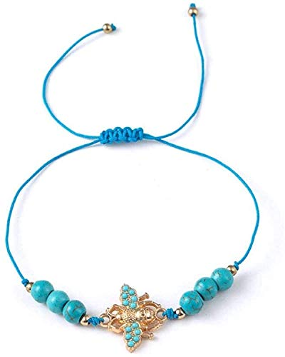 Gymqian Pulsera de Piedra Mujer, 7 Chakra Piedra Natural Beads Turquesa Ajustable Brazalete Azul Abeja Colgante Joyería Yoga Charm Tema Marino Pulsera Mujeres para Regalo Gama alta