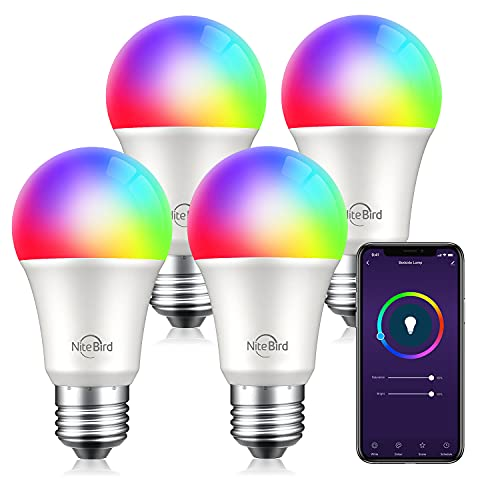 Nitebird Smart Light Bulbs, Dimmable Color Changing and Tunable White Smart Bulb 75W Equivalent, Works with Alexa and Google Home No Hub Required, A19 E26 WiFi Led Bulb, 800 Lumens, 4 Pack