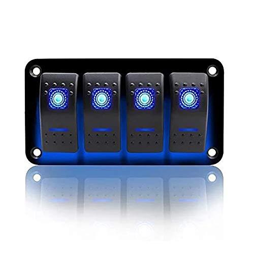 KAOLALI Panel de Interruptores Basculantes Interruptor de Palanca ON-OFF IP65 Impermeable 12 V 24 V LED para Campera Furgoneta Caravanas Autocaravanas Barcos (Azul)