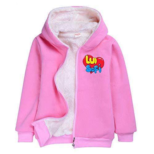 XFZDP Boy Girl a Maniche Lunghe con Cappuccio Velluto Popolari Ragazze Bambini Abbigliamento Top,Rosa,140cm