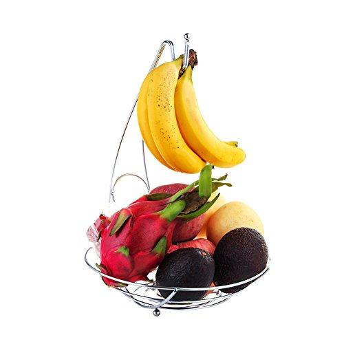 "Fruit Tree Bowl with Removable Banana Hanger, Decorative Fruit Basket 10"" x 14"" Large Capacity Fruit Stand Holder Durable Storage Premium Chrome Finish Iron Fruit Container"