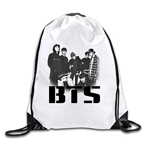 BTS Band Bangtan Boys Drawstring Backpack Travel Sports Bag,Unisex Drawstring Shoulder Backpacks Drawstring Bags Casual Travel Bags Shoulder Pouch Beam Port Backpack Tote Canvas Bag Storage Bag