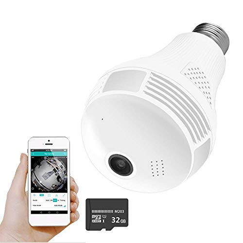 WiFi Camera, Include 32GB Card 1080P WiFi Security Camera, 2MP Wireles IP Led Cam,360 Degrees Panoramic VR Home Surveillance Cameras, Motion Detection/Night Vision/Alarm (White 1080p)