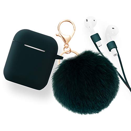 Airpods Accessories - CAMMATE Airpods Silicone Hang Case Cover with Anti-lost Strap, Fur Ball Keychain, Headphone Accessories for Apple Airpod (Dark Green)