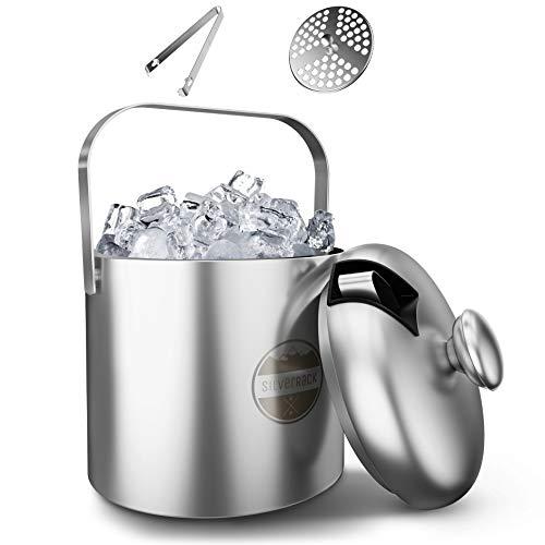 SilverRack Eiswürfelform als Eiswürfelbehälter mit Deckel u. Zange [1,3l] - Eisbehälter für Eiswürfel perfekt für kalte Getränke - Premium Eiswürfelform als Eiswürfelbehälter Ice Bucket