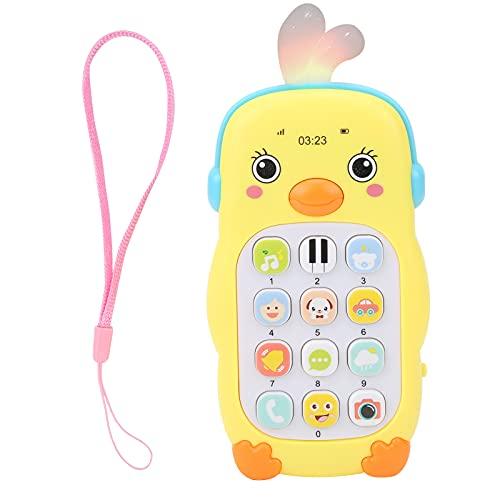 Zerodis Simulación de bebé Teléfono móvil, Teléfono Educativo multifunción Patrón de Dibujos Animados Lindo Música Sonido Efecto de luz Teléfono móvil Juguete para Mayores de 6 Meses(Amarillo)