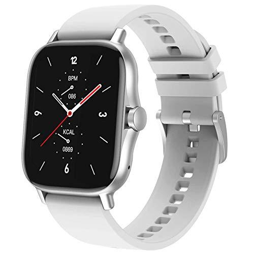 Smartwatch, Pantalla Táctil De 1.63', Relojes Inteligentes Impermeable IP67 para Mujer Hombre, Reloj De Fitness con Monitor De Sueño Pulsómetro Cronómetros Calorías Podómetro Silver