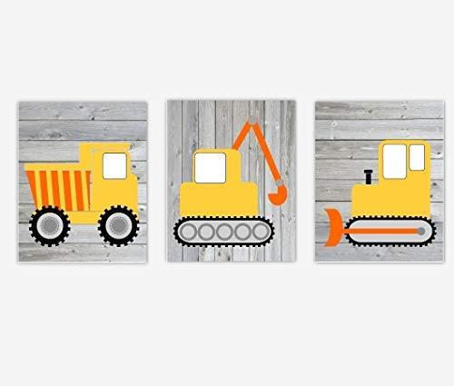 NNNNOOO Baustellen-Lastwagen-Wandkunst, Kinderzimmer, rustikaler Bauernhaus-Stil, Drucke, Spielzimmer, Kinderzimmer,...