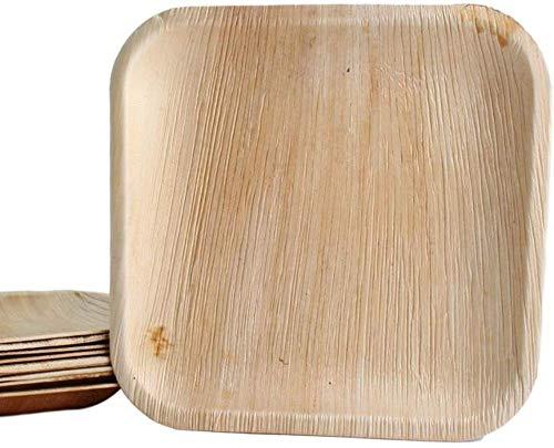 KOKA Lot de 30 assiettes jetables carrées en feuille de palmier respectueuses de l'environnement - Dimensions extérieures : 25 x 25 cm